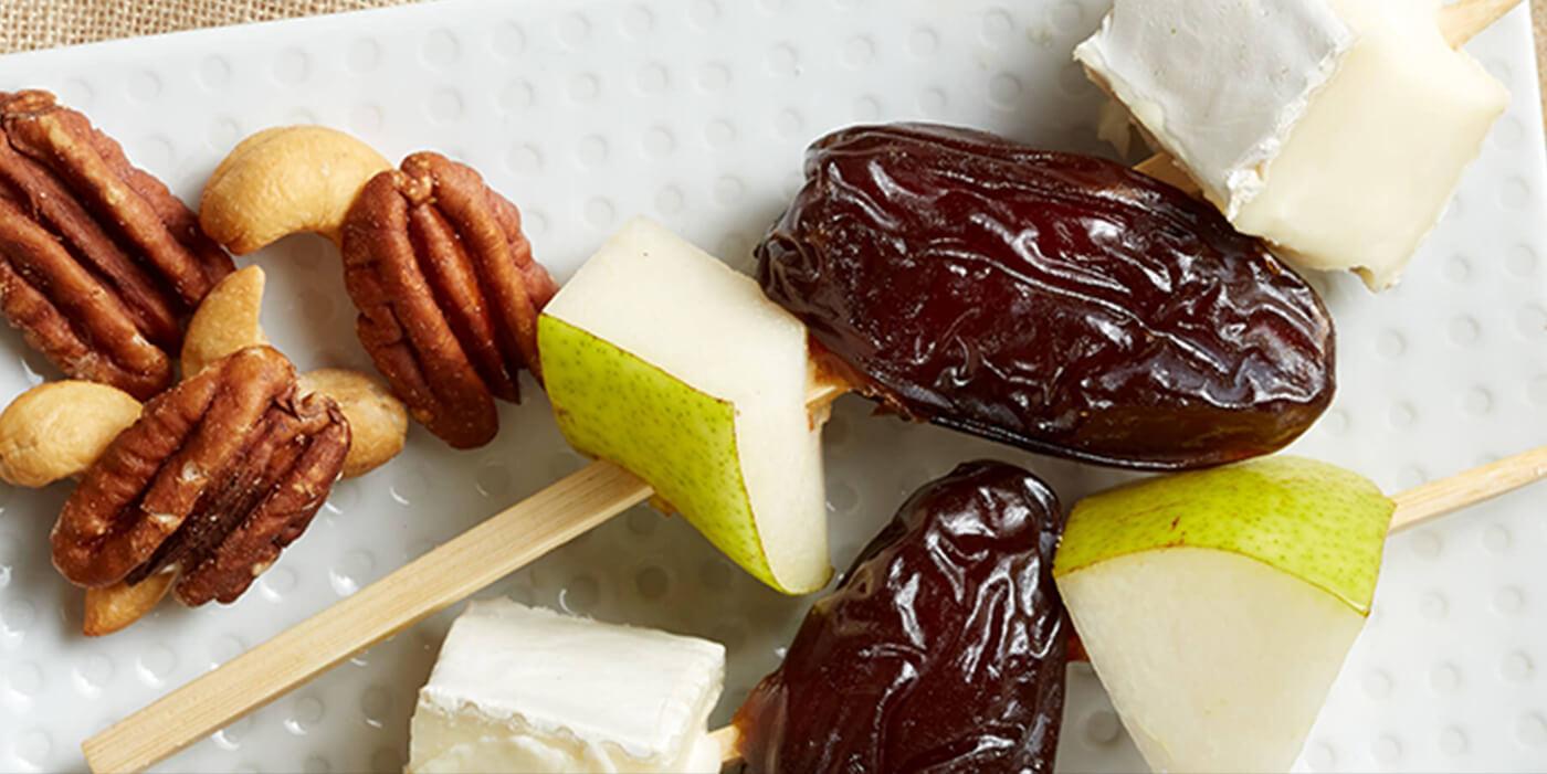Medjool Date, Pear and Brie Skewers